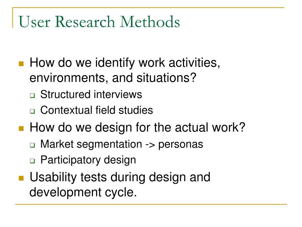 User Research Methods