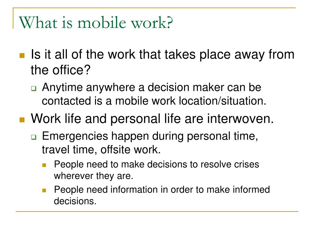 What is mobile work?