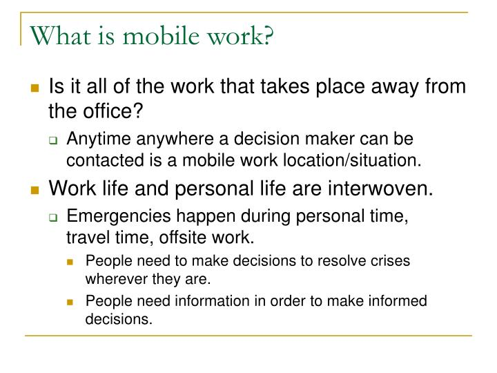What is mobile work