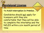 provisional license