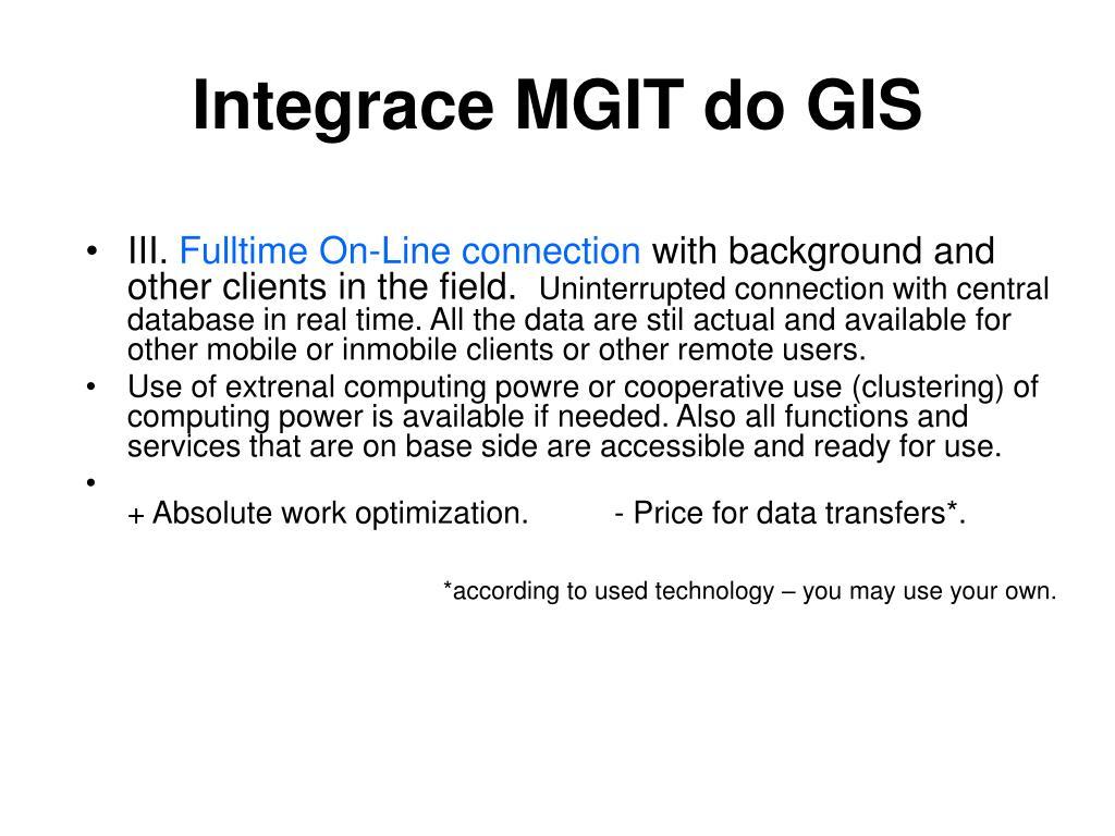 Integrace MGIT do GIS