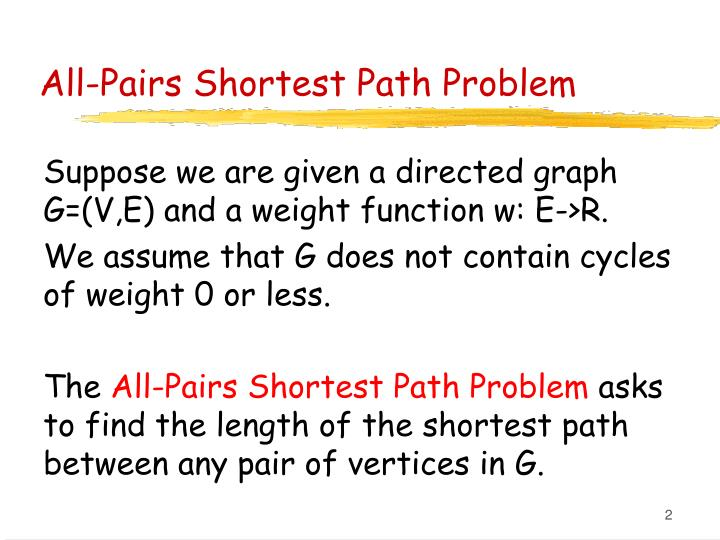 All pairs shortest path problem