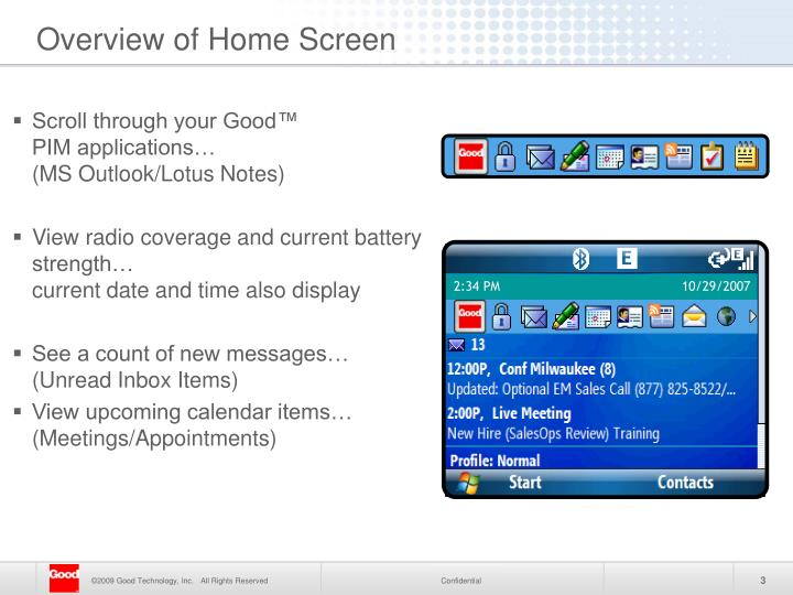Overview of home screen