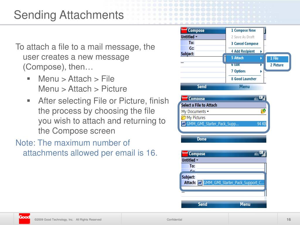To attach a file to a mail message, the user creates a new message (Compose), then…
