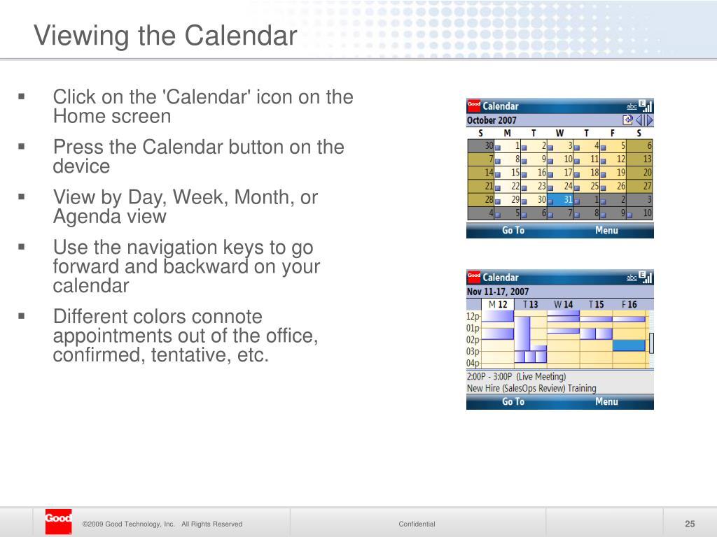 Viewing the Calendar
