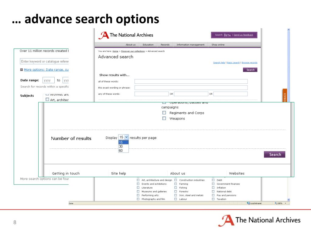 … advance search options