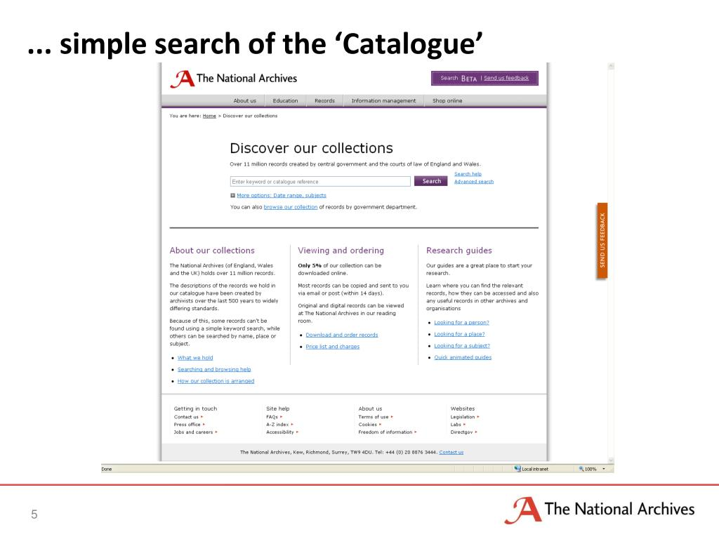 ... simple search of the 'Catalogue'