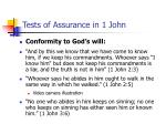 tests of assurance in 1 john31