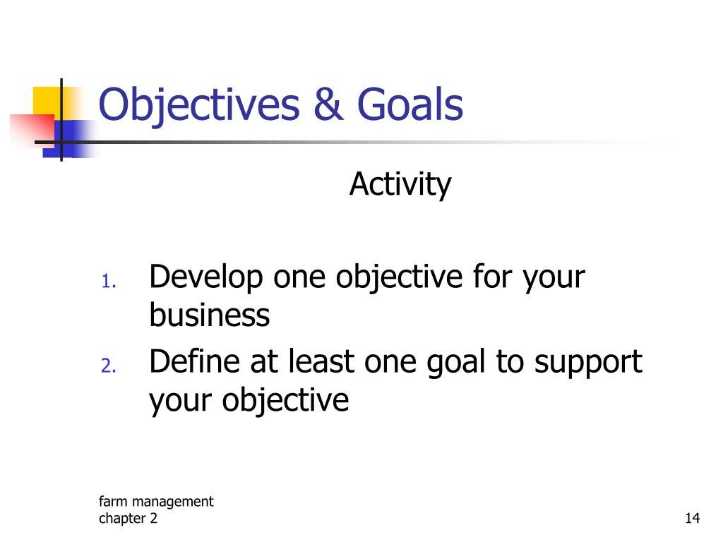 Objectives & Goals