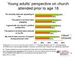young adults perspective on church attended prior to age 1840
