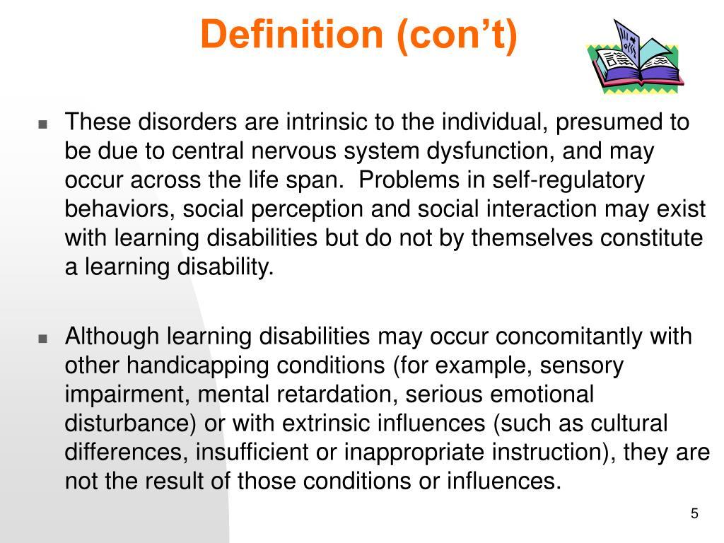 Definition (con't)