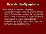 dyscalculia symptoms