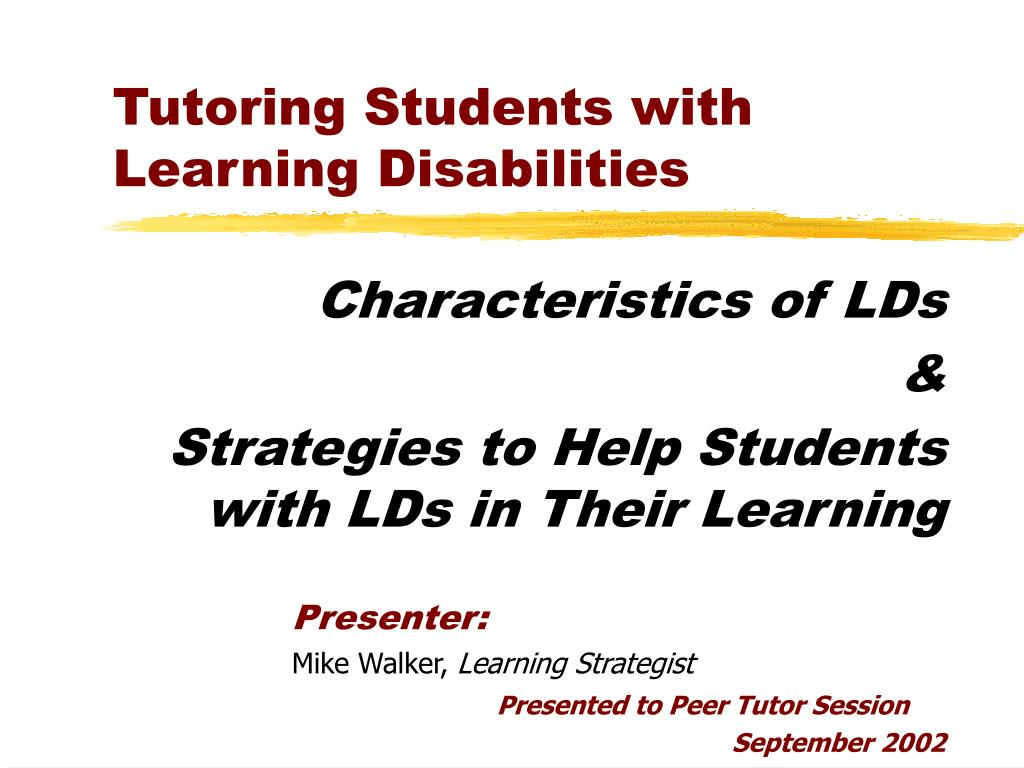 tutoring students with learning disabilities l.