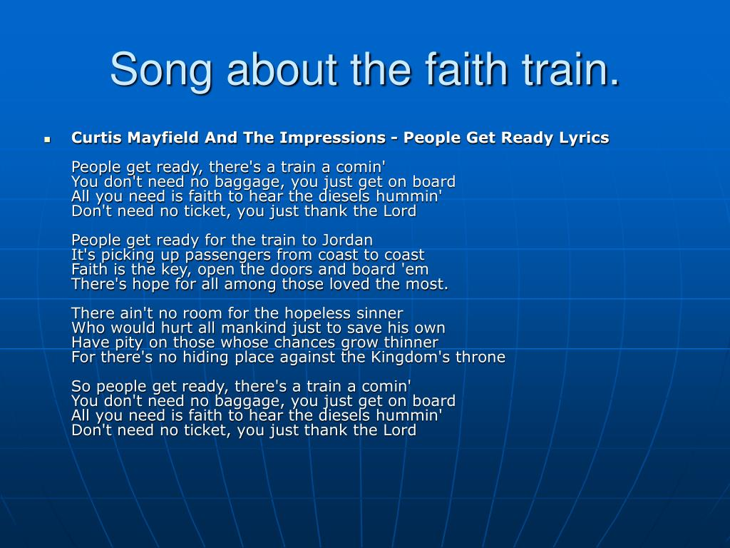 Song about the faith train.