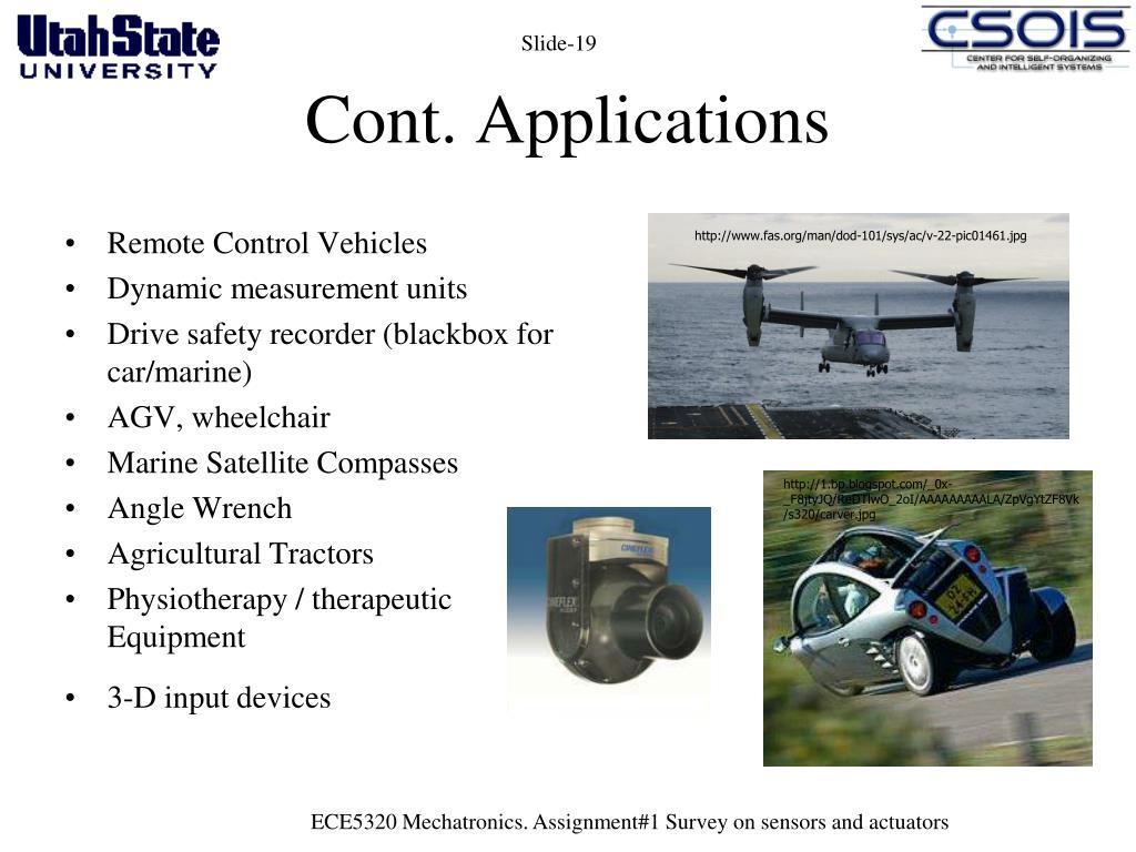 Cont. Applications