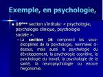 exemple en psychologie