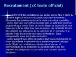 recrutement cf texte officiel