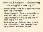 learning strategies sequencing of solving 52 divided by 4