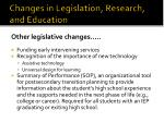changes in legislation research and education9