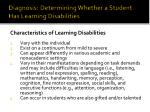 diagnosis determining whether a student has learning disabilities