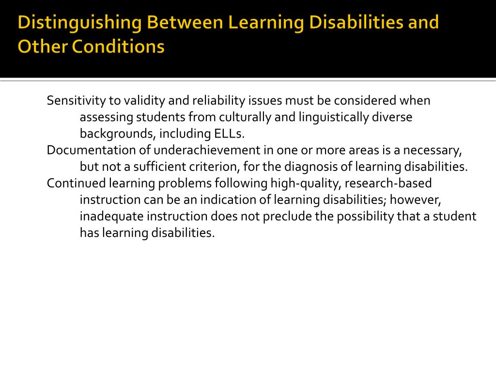 Distinguishing Between Learning Disabilities and Other Conditions