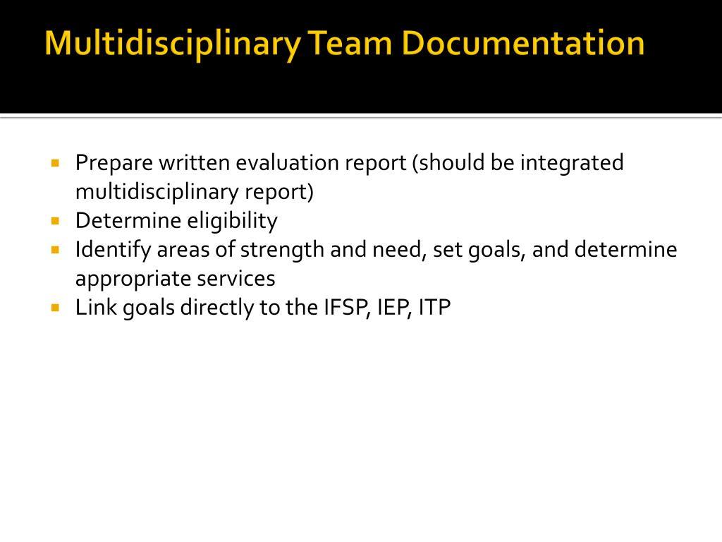 Multidisciplinary Team Documentation