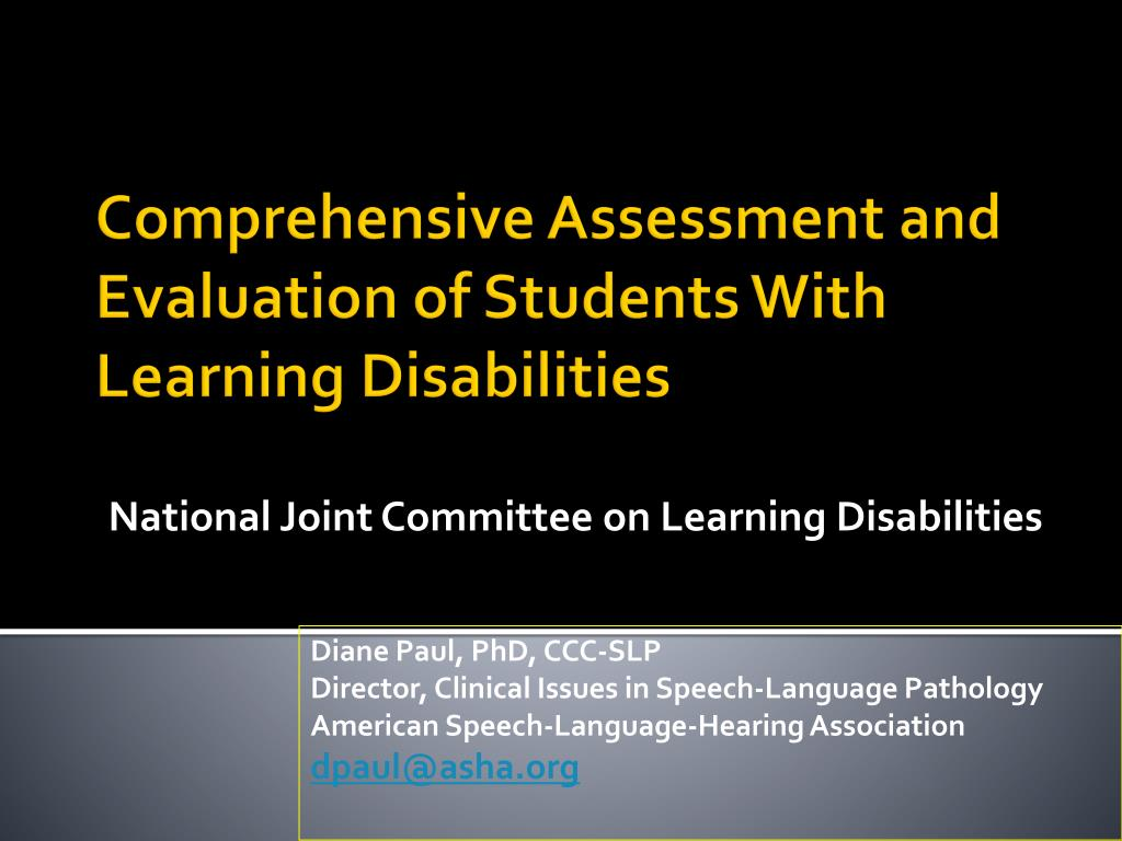national joint committee on learning disabilities l.