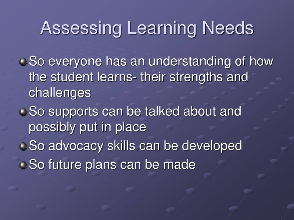 Assessing Learning Needs