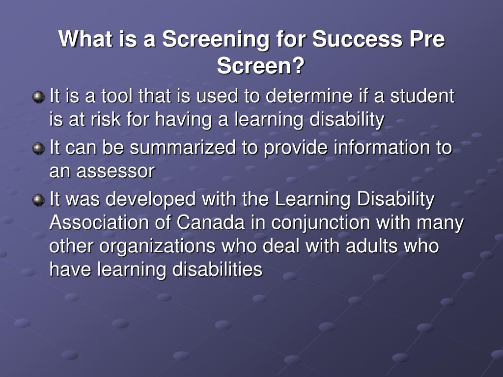 What is a Screening for Success Pre Screen?