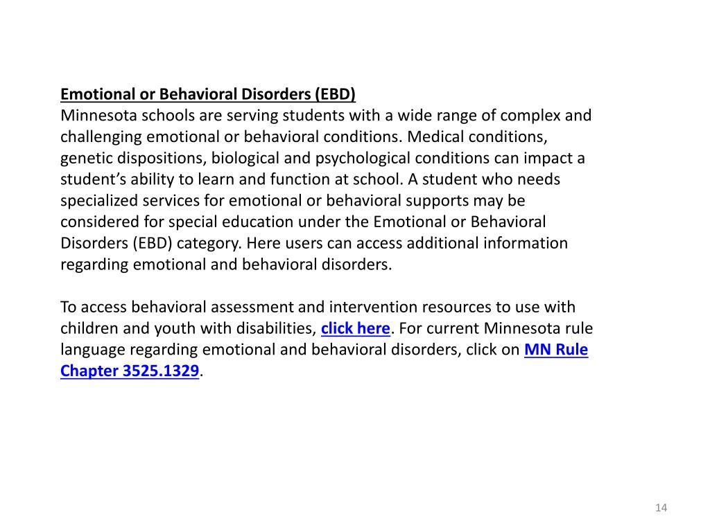 Emotional or Behavioral Disorders (EBD)