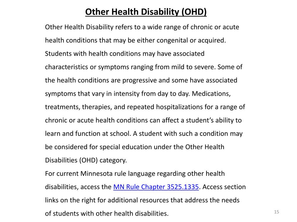 Other Health Disability (OHD)