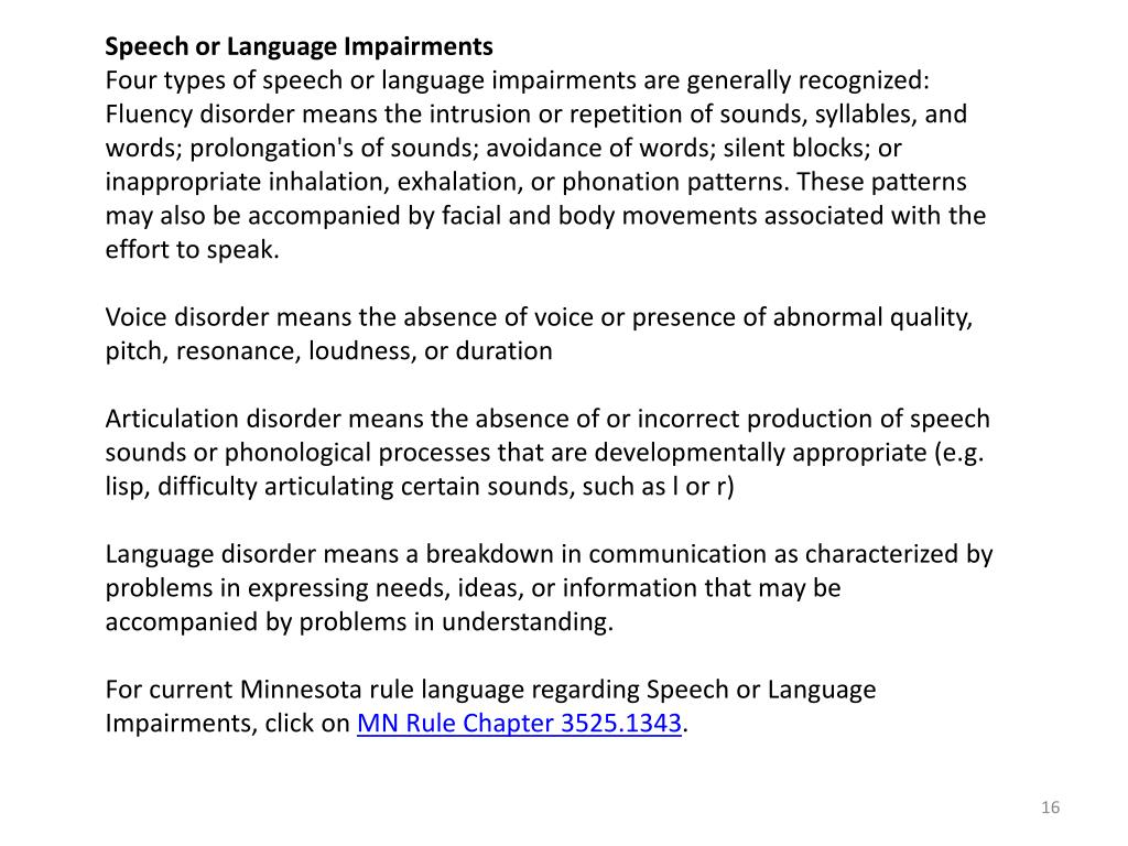 Speech or Language Impairments