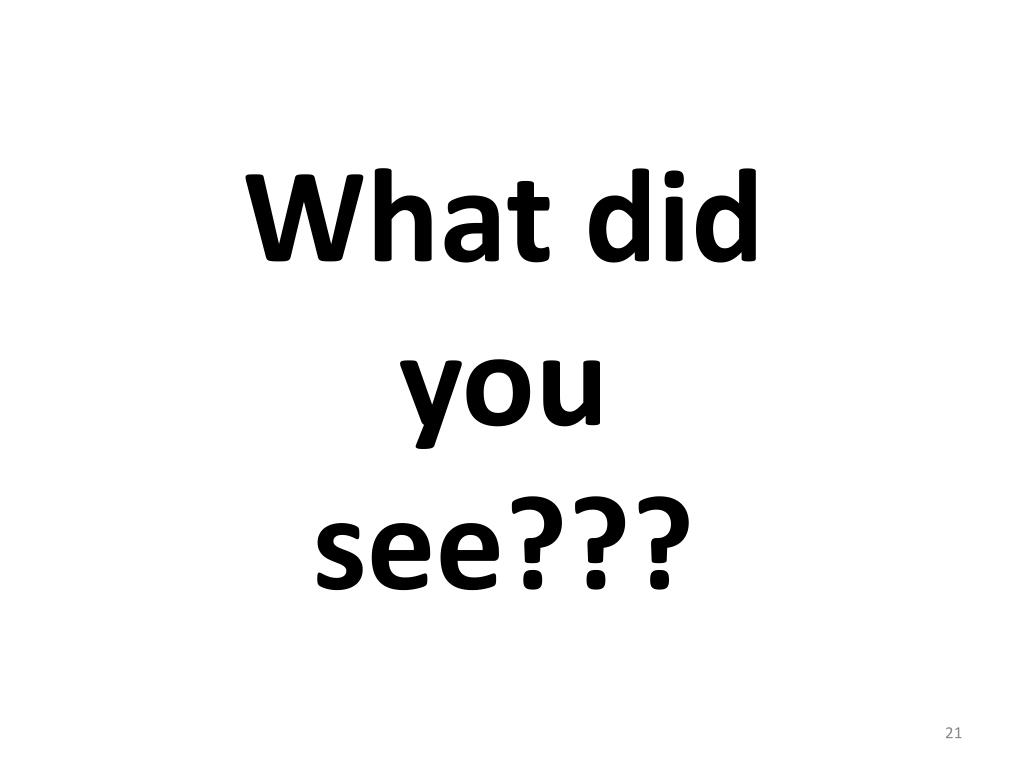 What did you see???