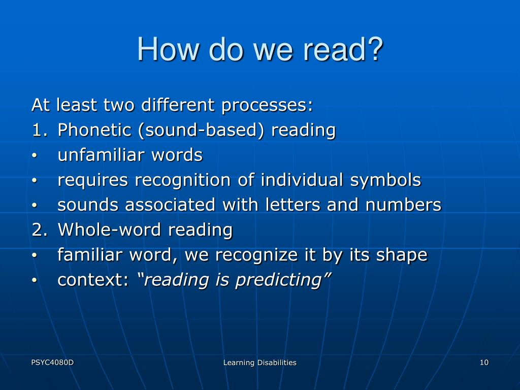 How do we read?