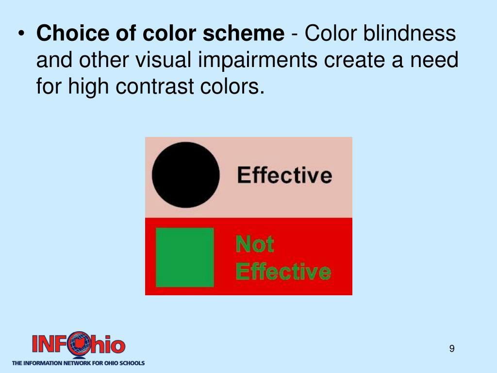 Choice of color scheme