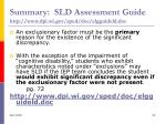 summary sld assessment guide http www dpi wi gov sped doc elgguideld doc53