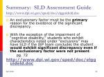 summary sld assessment guide http www dpi wi gov sped doc elgguideld doc53