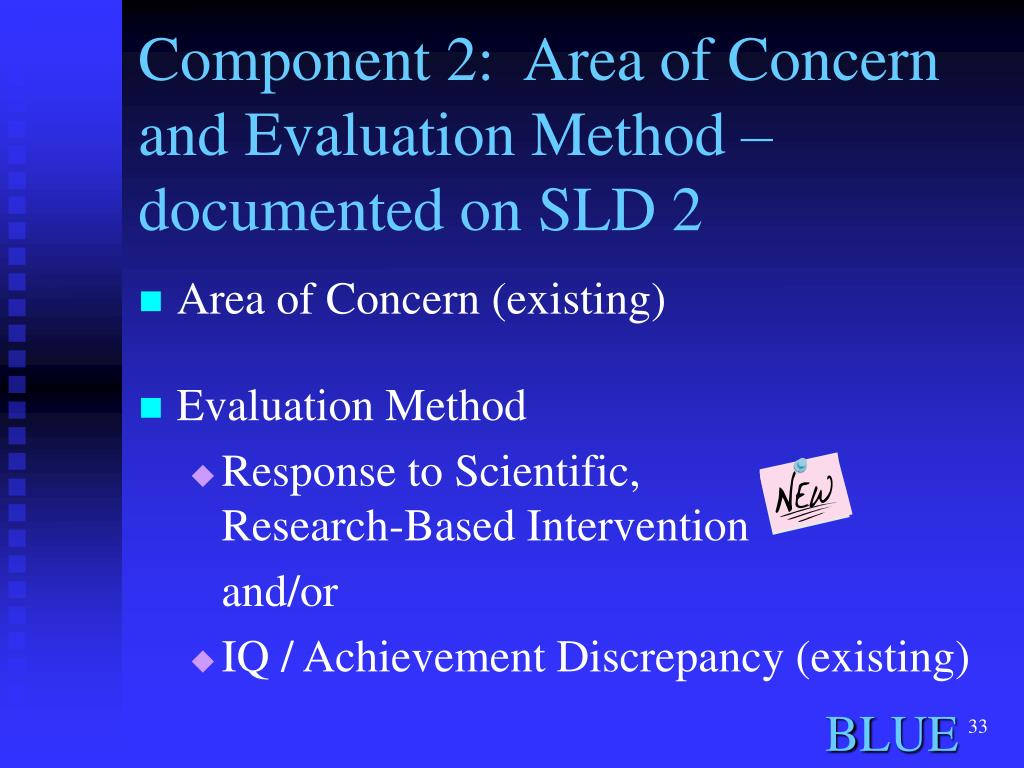 Component 2:  Area of Concern and Evaluation Method – documented on SLD 2