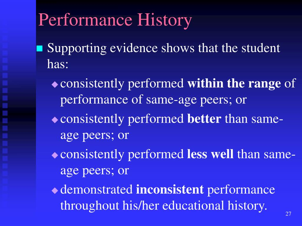Performance History