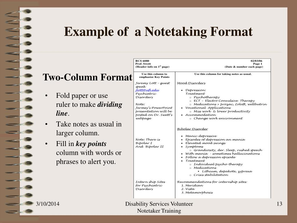 Example of  a Notetaking Format