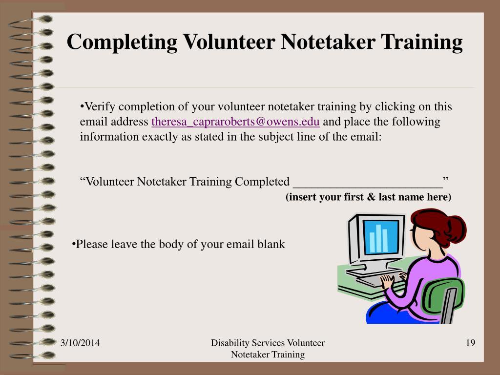 Completing Volunteer