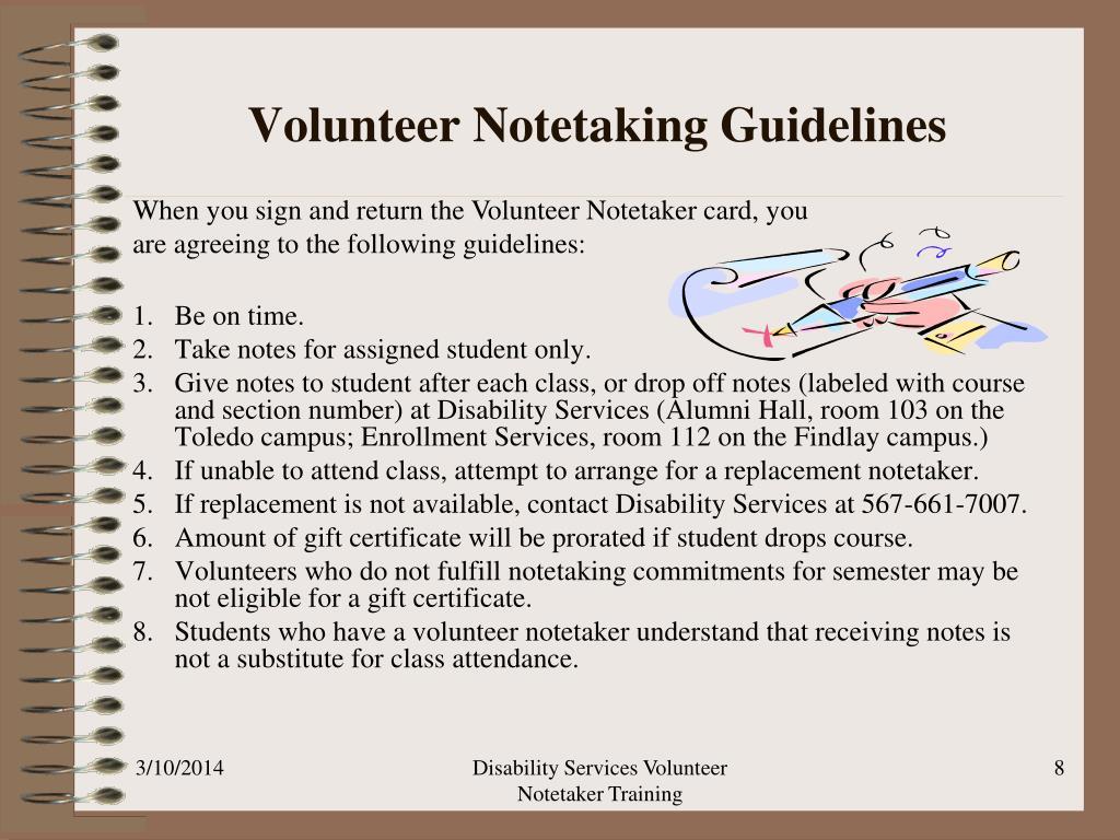 Volunteer Notetaking Guidelines