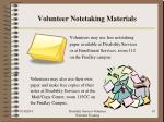 volunteer notetaking materials