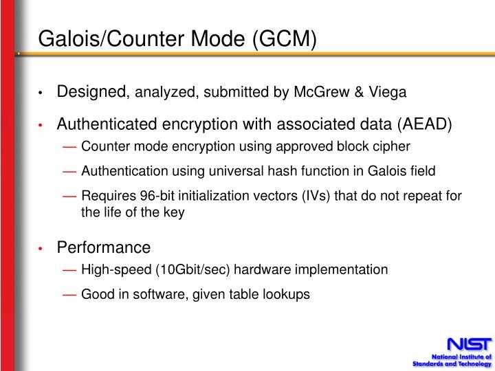 Galois counter mode gcm