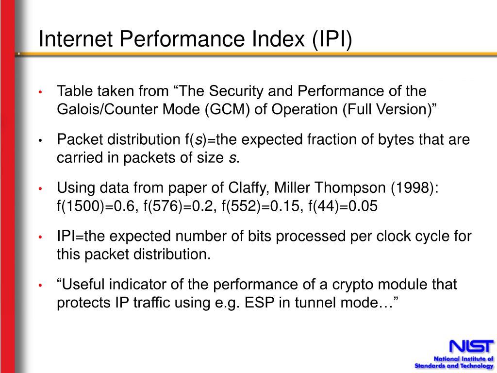 Internet Performance Index (IPI)