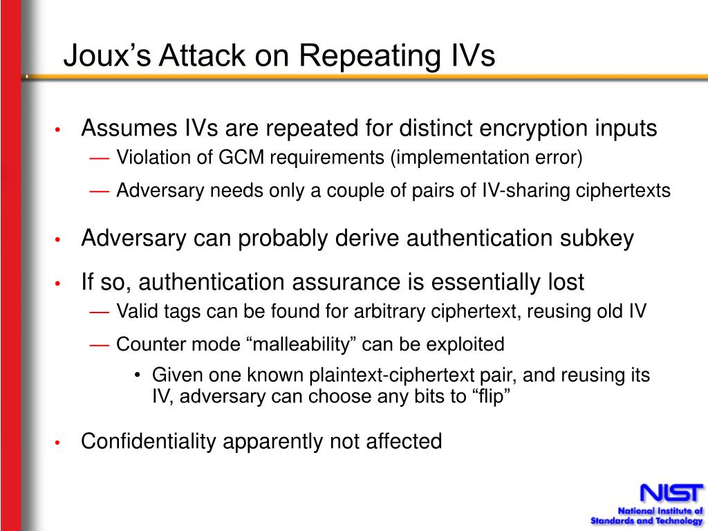 Joux's Attack on Repeating IVs