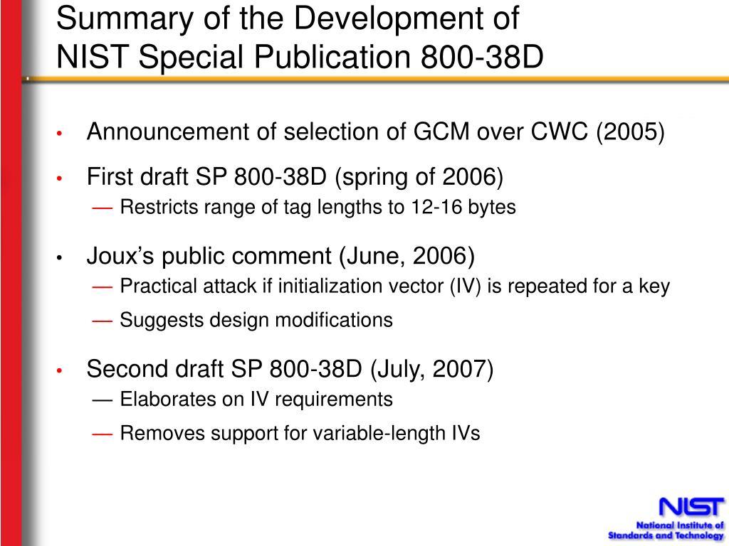 Summary of the Development of