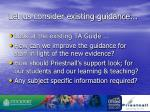 let us consider existing guidance