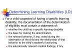 determining learning disabilities ld