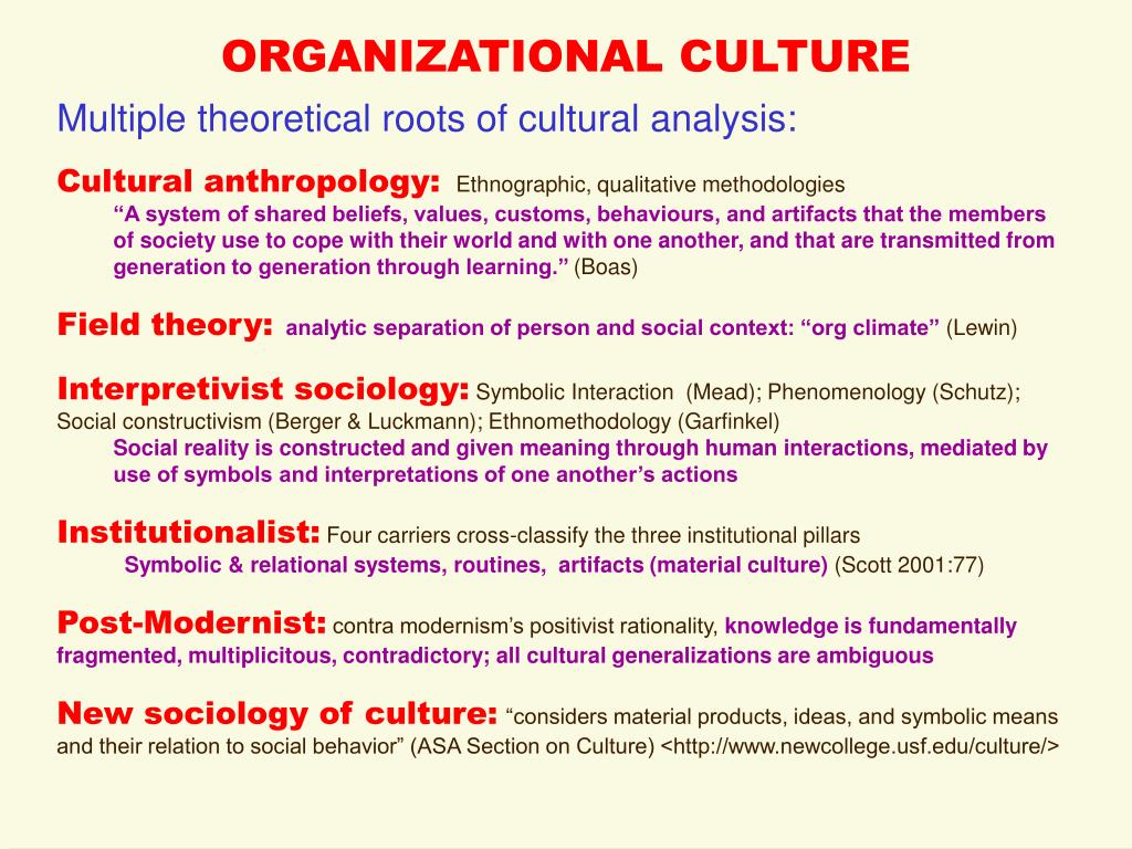 organizational culture is fundamentally about symbolic Organization theory and the public footings in a distinctive internal organizational culture and theory and the public sector: instrument, culture and.